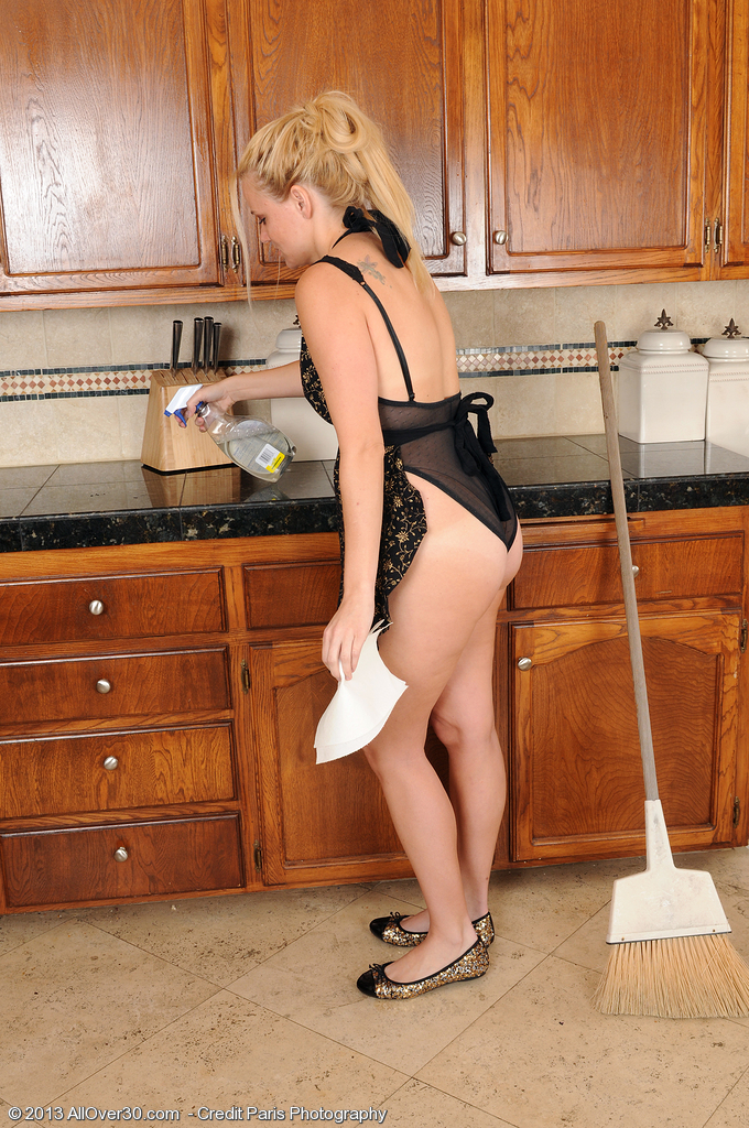 Sexy  Blond and Thirty Years Old Lilly Swan  Opens Broad in the Kitchen
