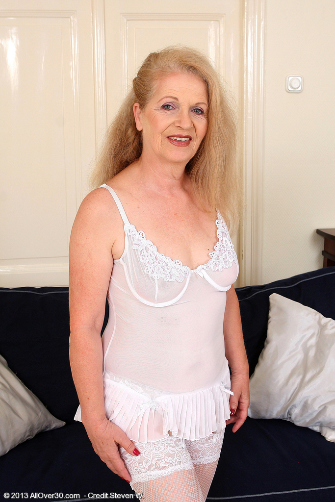 62 Year Old Gilf Nelli from  Onlyover30 Slips out of Her White Panties